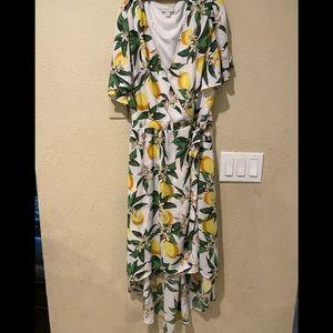 NY&C White Lemon-Print Hi-Lo Wrap Dress size M